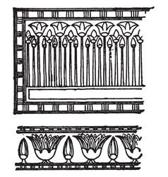 Egyptian floral ornament form masses of unbroken vector