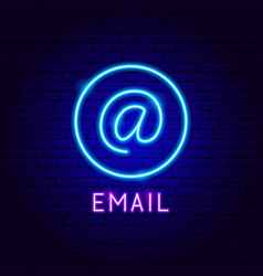 Email neon label vector