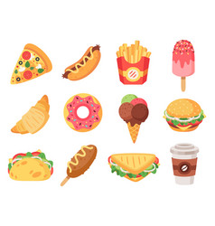 fast food junk food and snacks hamburger taco vector image