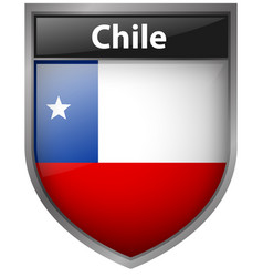 Flag of chile on badge vector