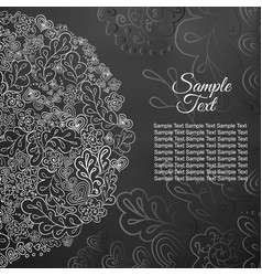 Floral card white and black colored vector
