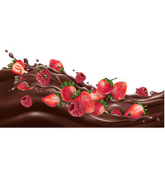 fresh strawberries and raspberries on a chocolate vector image