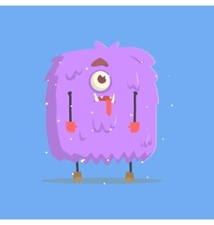 Giant Violet Furry Square Monster In Winter vector