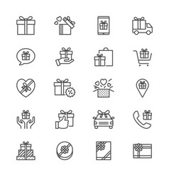 gift thin icons vector image vector image