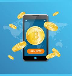 golden bitcoin mining concept win vector image