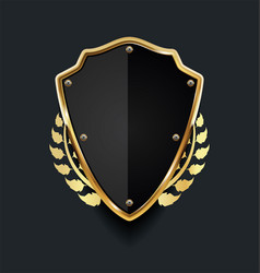 golden shield with golden laurel wreath 01 vector image