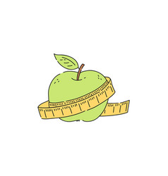 Green apple with measuring tape icon vector