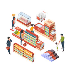 grocery customers isometric people with shopping vector image