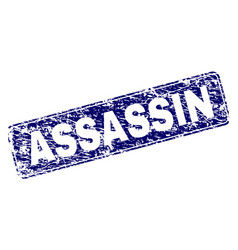 Grunge assassin framed rounded rectangle stamp vector