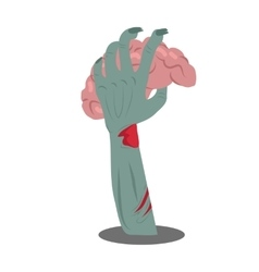 Human Brains in Zombie Hand vector