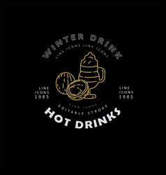 icon and logo hot drinks for cold weather vector image