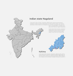 India country map and nagaland state template vector