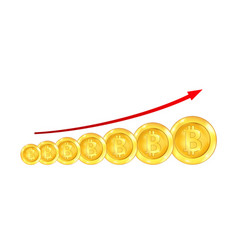 Infographic uptrend line arrow for bitcoin sign on vector