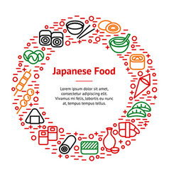 Japanese foods thin line banner card circle vector