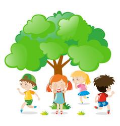 Kids playing hide and seek in park vector