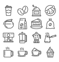 Line coffee and accessories icons set vector