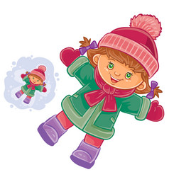 Little girl lying on the snow and making a vector