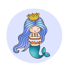 little happy princess mermaid holding a birthday vector image