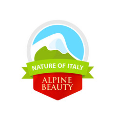 Logo with of alpine mountain vector
