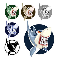 mad shark bares his teeth isolated on white vector image
