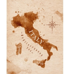Map italy retro vector