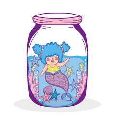 Mermaid woman with starfish and seaweed plants in vector