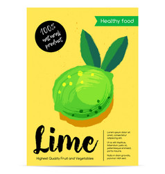 Modern healthy food poster with lime vector