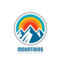 mountains - logo template vector image