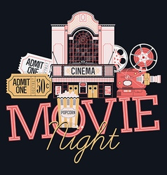Movie Night Icon Set vector