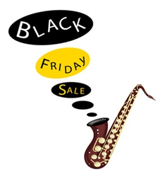 Musical Bass Saxophone Playing Black Friday Sale vector image