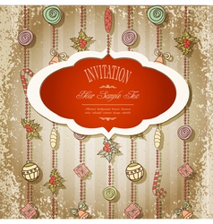 New retro background with christmas garland vector