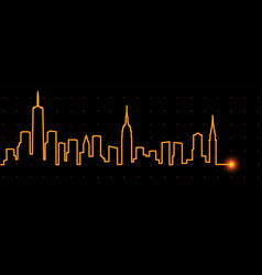 New york light streak skyline vector
