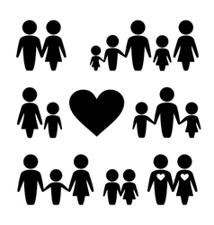 People Family icons set vector