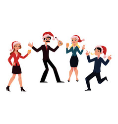 people in santa claus hats celebrating christmas vector image