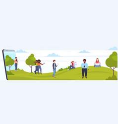people using cellphones mix race men women walking vector image