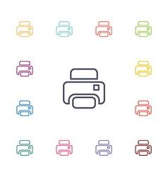 printer flat icons set vector image