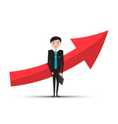 red arrow and businessman in suit on white vector image