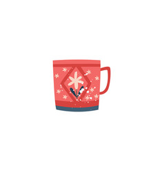 red ceramic cup with flower decor in flat cartoon vector image