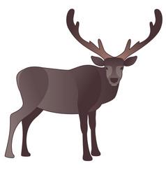 Reindeer cartoon style with big antlers isolated vector
