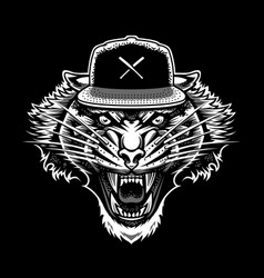 roaring tiger in snapback art vector image