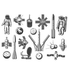 rockets shuttles icons astronomy and outer space vector image