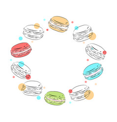 round frame of delicate contour macaroons with vector image