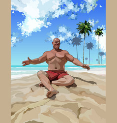 Satisfied muscular man having fun on the beach vector