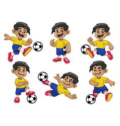 set cartoon happy soccer player vector image
