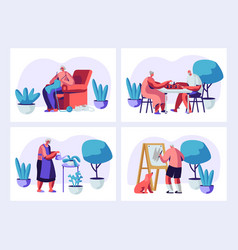 set elderly characters having hoband leisure vector image