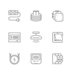 Set line icons electricity vector