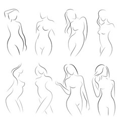 set of female figures collection of outlines of vector image