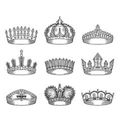 Set of isolated sketch for crown or tiara vector