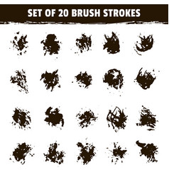 set of twenty grunge round brush smear vector image