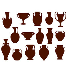 set silhouettes ancient amphorae and vector image